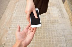 Give Me Your Phone Royalty Free Stock Photo