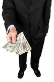 Give money. Business man giving a money isolate on white Royalty Free Stock Images