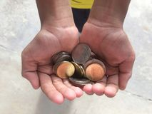 Give money children to school. royalty free stock photo