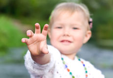 Give my. Little girl asks something interesting Royalty Free Stock Photo
