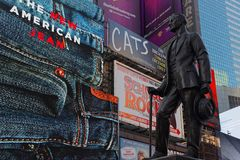 `Give My Regards to Broadway` statue in Times Square. NEW YORK CITY, USA, September 10, 2017 : Cohan`s  `Give My Regards to Broadway` statue in Times Square Stock Photos