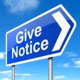 Give notice concept. Stock Photos