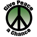 Give Peace a Chance. Peace symbol stroked in black in green gradient overlay Stock Photos