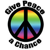 Give Peace a Chance. Peace symbol stroked in black in green gradient overlay stock illustration