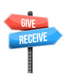 Give and receive street sign illustration design Royalty Free Stock Photos