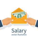 Give a salary. vector. Give a salary. Wages in the envelope. Payout. Businessman holding in hand an envelope with money. Transfer money. Vector illustration flat Stock Image