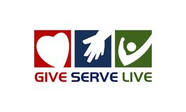 Give Serve Live. Logo Design Template Vector Royalty Free Stock Photos