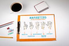 Give suggestions for marketing, iconography. Office desk with stationery royalty free stock image