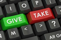Give and Take concept on the black keyboard, 3D rendering. Give and Take concept on the black keyboard Royalty Free Stock Photography