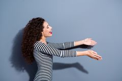 Give take free concept. Half closeup photo portrait of delightful rejoicing nice glad optimistic positive excited honest. Sincere hospitable lady want to hug royalty free stock image
