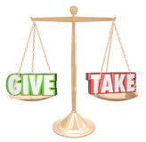 Give and Take Gold Scale Balance Sharing Generous Cooperation. Give and Take words on a gold scale or balance to illustrate sharing, cooperating, collaborating vector illustration