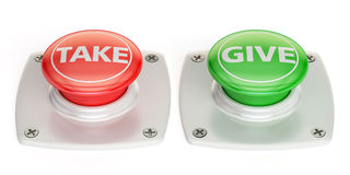 Give and take push button, 3D rendering Royalty Free Stock Images