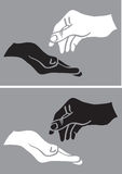 Give and Take White and Black Hand Vector Illustration Stock Image