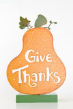 Give Thanks. Pumpkin on white background stock photo