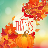 Give thanks - autumn background with pumpkin. Stock Images