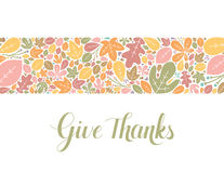 Give Thanks Banner. Hand lettered text with autumnal banner Stock Photos