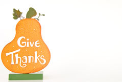 Give Thanks Frame. Orange Give Thanks pumpkin stand on a white background stock photography