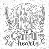 Give thanks with a grateful heart - Thanksgiving day lettering calligraphy phrase with pumpkin pie and ears. Autumn Royalty Free Stock Images