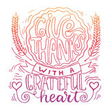 Give thanks with a greatful heart - Thanksgiving day lettering calligraphy phrase with pumpkin pie. Autumn greeting card Royalty Free Stock Photography