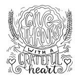 Give thanks with a greatful heart - Thanksgiving day lettering calligraphy phrase with pumpkin pie. Autumn greeting card Stock Photo