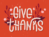 Give thanks lettering. Letterpress inspired greeting card. With colorful typography Stock Photo