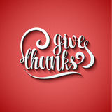 Give thanks phrase. Calligraphy Gift handmade. Lettering for printing Royalty Free Stock Images