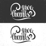 Give thanks phrase. Calligraphy Gift handmade. Lettering for printing Royalty Free Stock Photography