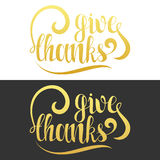 Give thanks phrase. Calligraphy Gift handmade. Lettering for printing Stock Photo