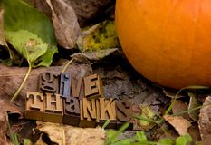 Give Thanks Spelled in Type Set. Outside royalty free stock images
