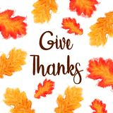 Give Thanks text with watercolor leaves over white. Give Thanks text with watercolor autumn leaves over a white background stock images
