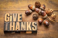 Give thanks - Thanksgiving concept. Word abstract in letterpress wood type printing blocks with acorn decoration royalty free stock images