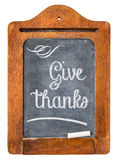 Give thanks - Thanksgiving concept. White chalk text on small slate blackboard stock photos