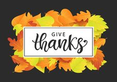 Give Thanks. Thanksgiving Day poster template Stock Photography