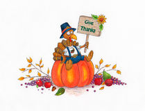 Give Thanks Turkey. Thanksgiving cartoon turkey sitting on a pumpkin. made with markers and colored pencils Royalty Free Stock Image