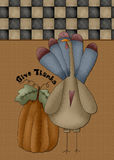 Give Thanks Turkey & Pumpkin Card. This cute country themed card would also work for a website background or scrapbook page vector illustration