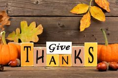 Give Thanks wood sign with pumpkins and leaves. Against a rustic wooden background Royalty Free Stock Images