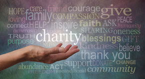 Give to Charity Banner. Woman's outstretched open hand with the word 'charity' in white above palm, surrounded by charity related words on a rustic blue and