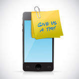 Give us a try post on a phone. illustration design Stock Photo