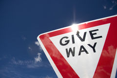 Give Way. Give Away, Your Right Of Way - Australian Traffic Sign Stock Image