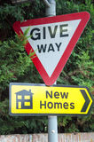 Give way, New Homes Stock Photos