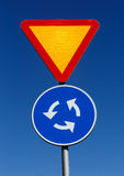 Give way at rhe roundabout Royalty Free Stock Image