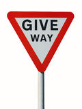 Give way sign. UK Give Way traffic sign isolated royalty free stock photos
