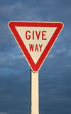 Give Way Sign. Roads sign tell drivers to give way Stock Photos