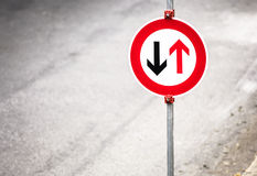 Give way sign. Close up Stock Photography