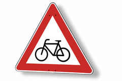 Give way sign with bike, close-up Royalty Free Stock Photos