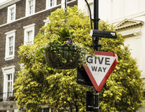 Give way sign in London Royalty Free Stock Photos