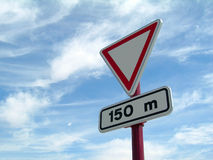 Give way to 150 meters Royalty Free Stock Photo
