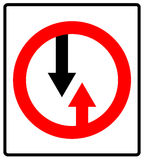 Give way to oncoming traffic sign. Vector road symbol Royalty Free Stock Image