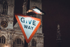 Give Way traffic warning sign Stock Image