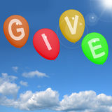 Give Word On Balloons Showing Charity Donations And Generous Ass. Give Word On Balloons Shows Charity Donations And Generous Assistance Stock Photography